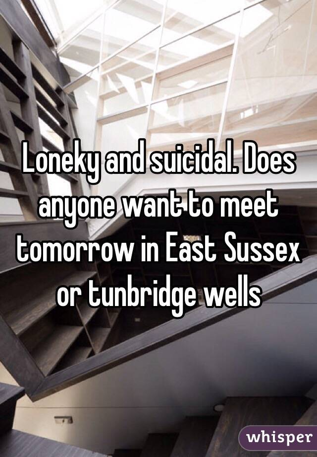 Loneky and suicidal. Does anyone want to meet tomorrow in East Sussex or tunbridge wells