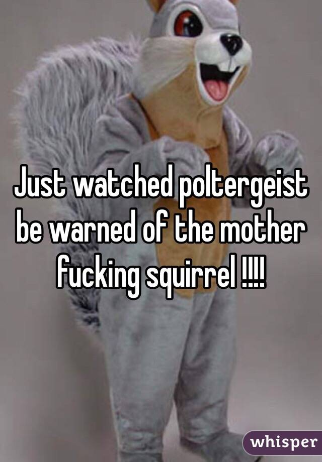Just watched poltergeist be warned of the mother fucking squirrel !!!!