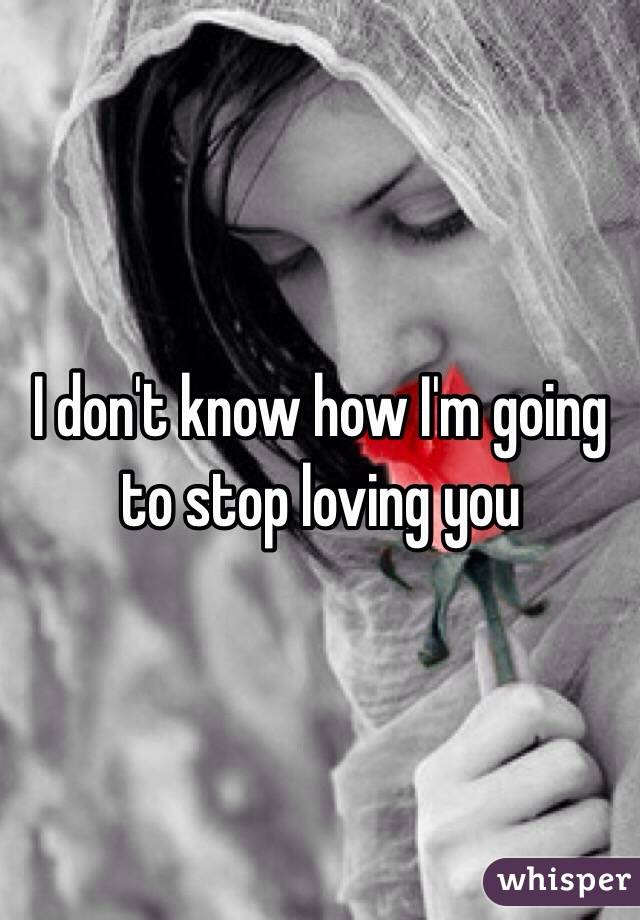 I don't know how I'm going to stop loving you