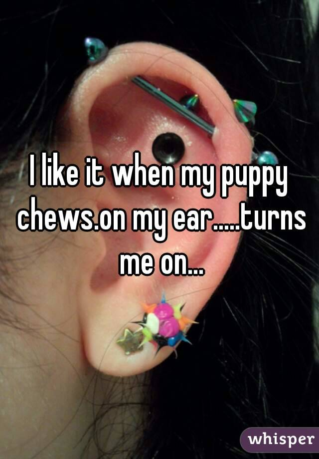 I like it when my puppy chews.on my ear.....turns me on...