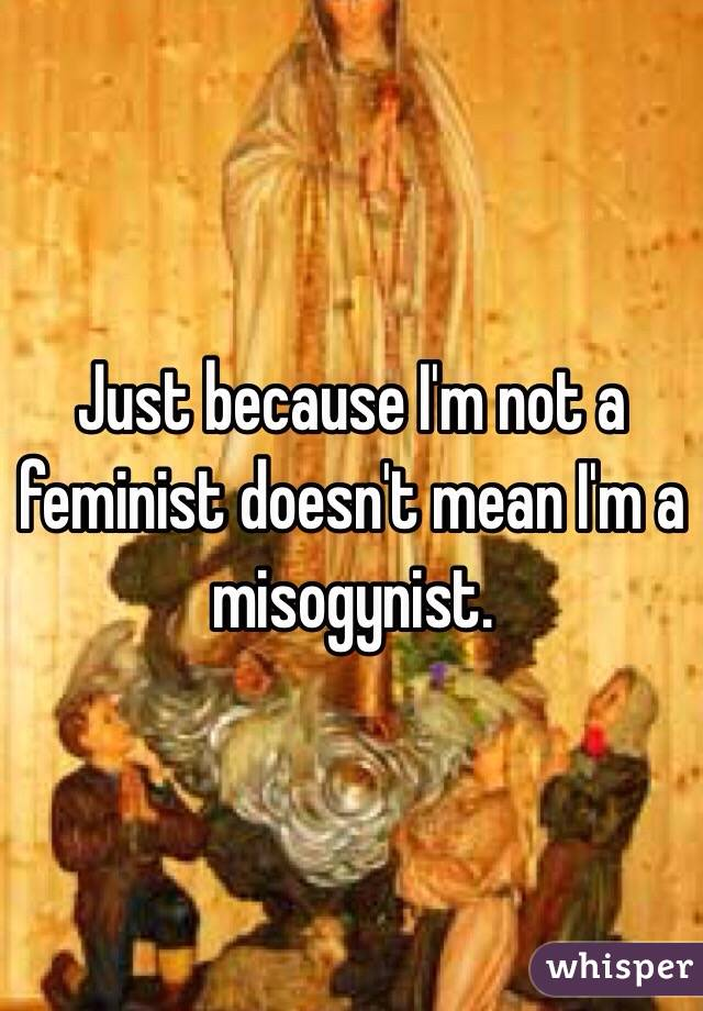 Just because I'm not a feminist doesn't mean I'm a misogynist.