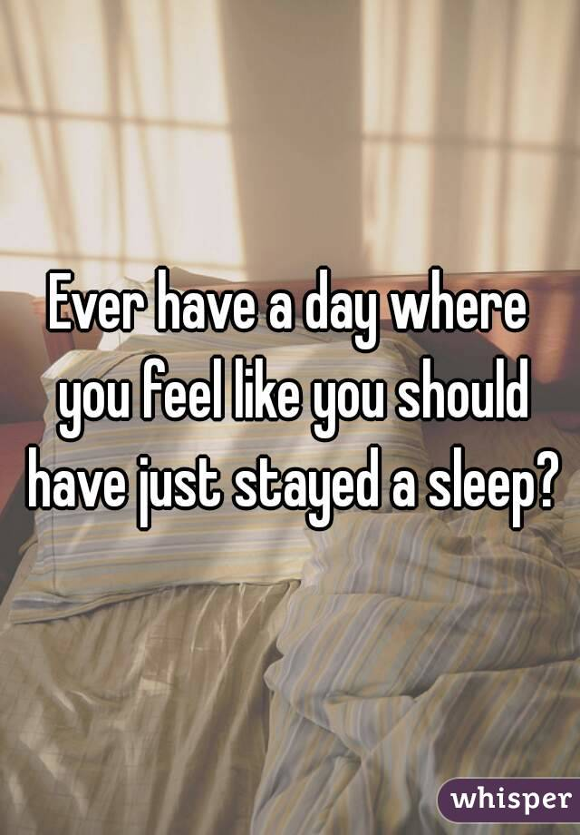 Ever have a day where you feel like you should have just stayed a sleep?