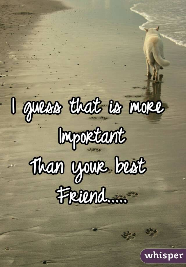 I guess that is more  Important Than your best  Friend.....