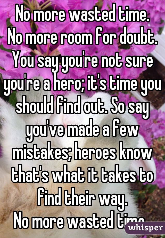 No more wasted time.  No more room for doubt.  You say you're not sure you're a hero; it's time you should find out. So say you've made a few mistakes; heroes know that's what it takes to find their way.  No more wasted time.  Not one more day.