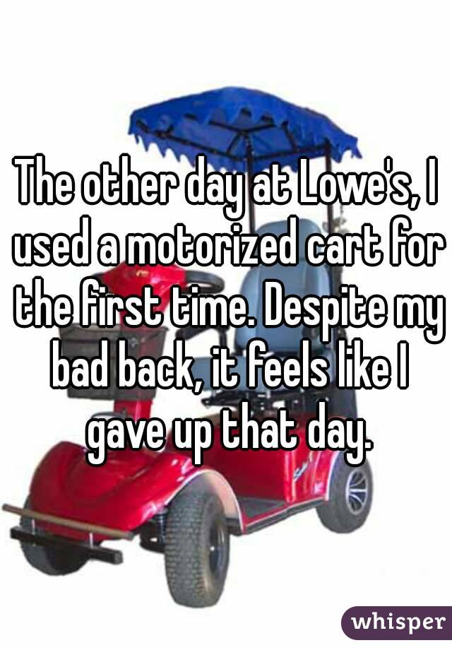 The other day at Lowe's, I used a motorized cart for the first time. Despite my bad back, it feels like I gave up that day.