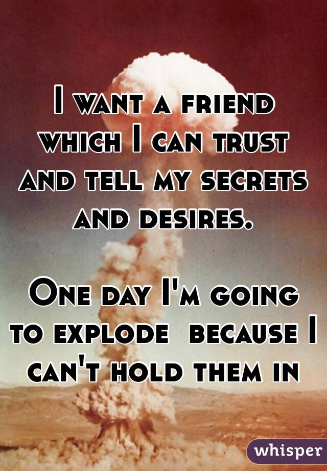 I want a friend which I can trust and tell my secrets and desires.  One day I'm going to explode  because I can't hold them in