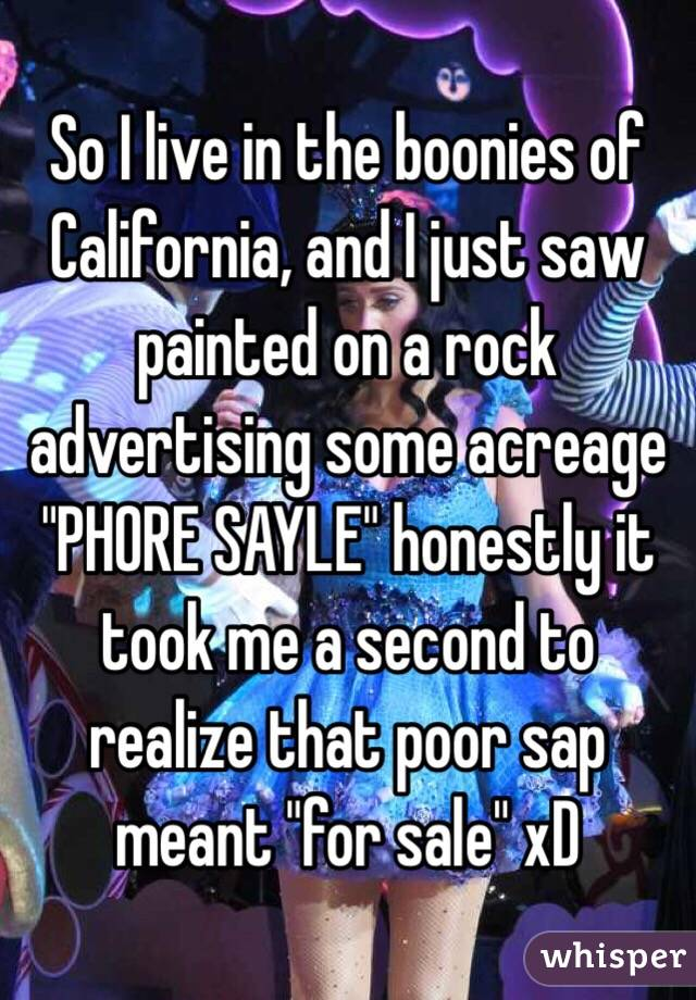 """So I live in the boonies of California, and I just saw painted on a rock advertising some acreage """"PHORE SAYLE"""" honestly it took me a second to realize that poor sap meant """"for sale"""" xD"""