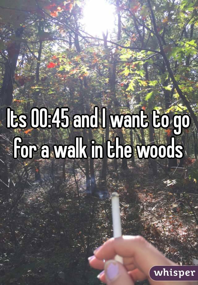 Its 00:45 and I want to go for a walk in the woods