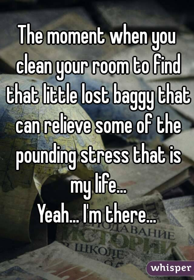 The moment when you clean your room to find that little lost baggy that can relieve some of the pounding stress that is my life... Yeah... I'm there...