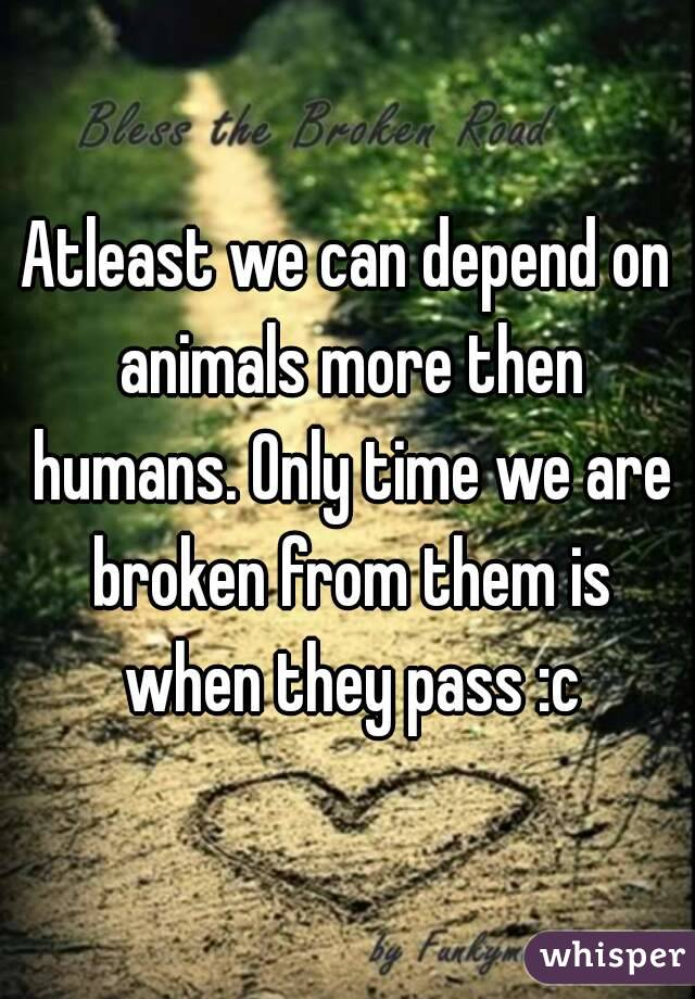 Atleast we can depend on animals more then humans. Only time we are broken from them is when they pass :c