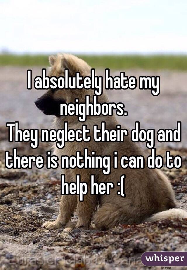 I absolutely hate my neighbors. They neglect their dog and there is nothing i can do to help her :(