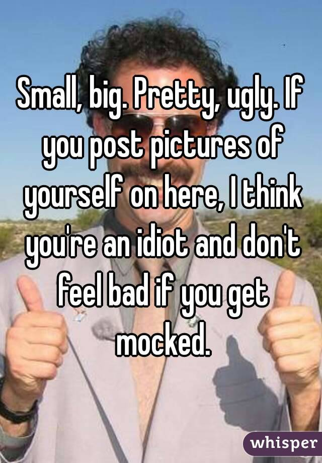Small, big. Pretty, ugly. If you post pictures of yourself on here, I think you're an idiot and don't feel bad if you get mocked.