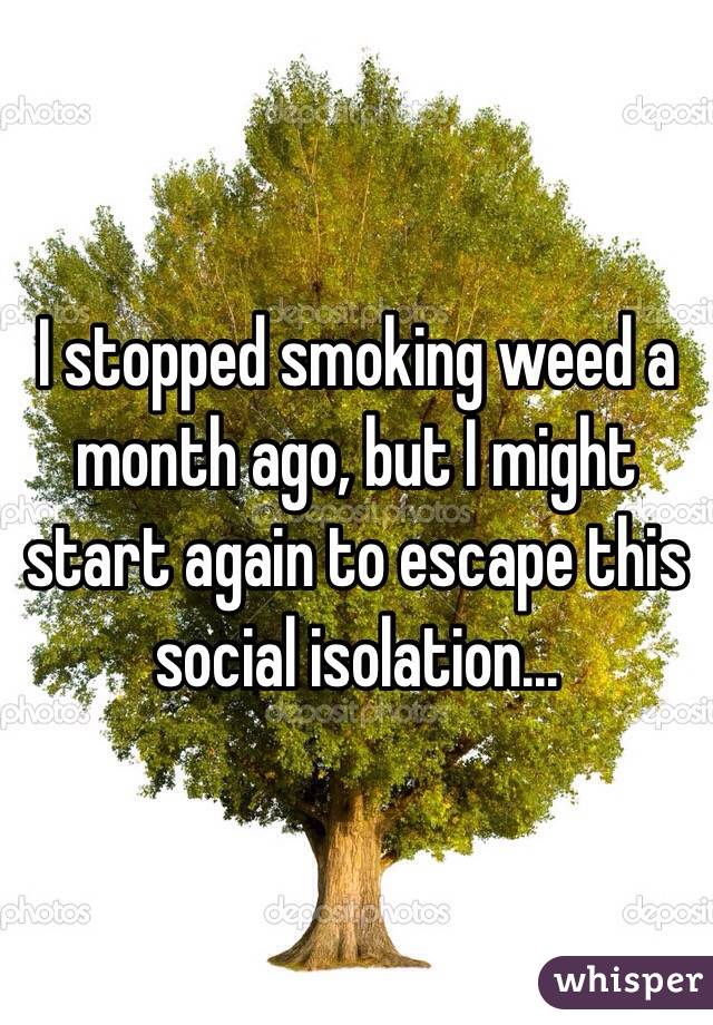 I stopped smoking weed a month ago, but I might start again to escape this social isolation...