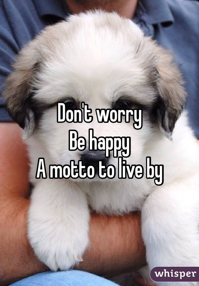 Don't worry  Be happy  A motto to live by