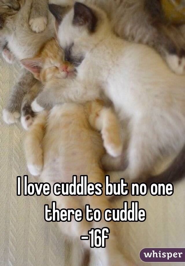 I love cuddles but no one there to cuddle -16f