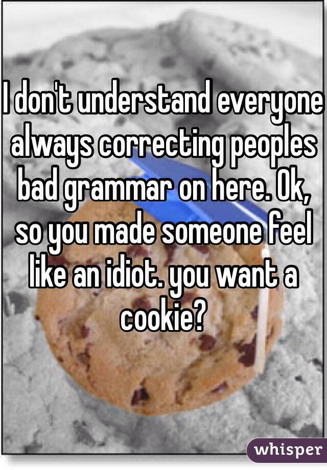 I don't understand everyone always correcting peoples bad grammar on here. Ok, so you made someone feel like an idiot. you want a cookie?