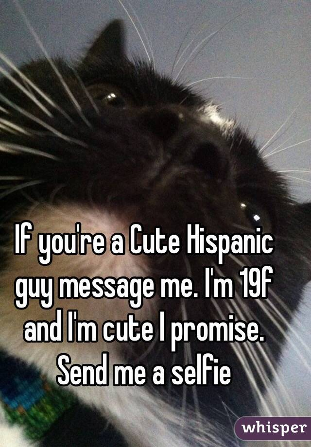 If you're a Cute Hispanic guy message me. I'm 19f and I'm cute I promise. Send me a selfie