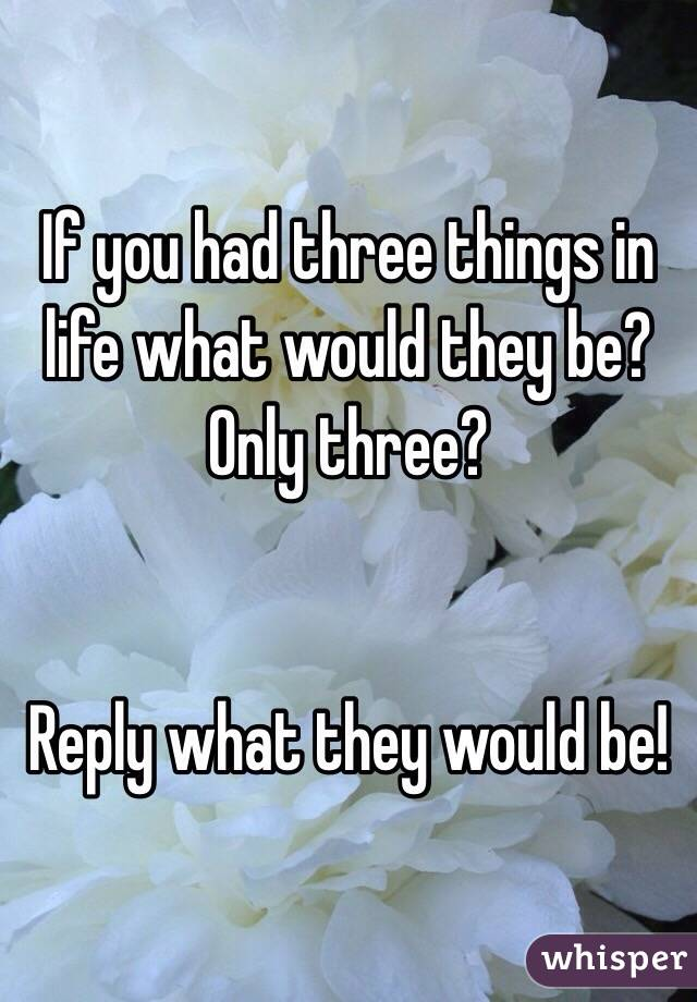 If you had three things in life what would they be? Only three?   Reply what they would be!