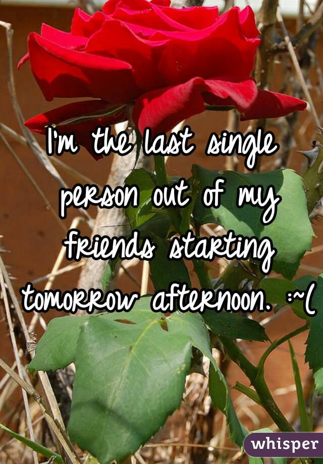 I'm the last single person out of my friends starting tomorrow afternoon. :~(