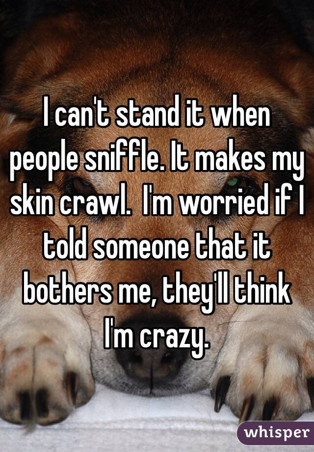 I can't stand it when people sniffle. It makes my skin crawl.  I'm worried if I told someone that it bothers me, they'll think I'm crazy.