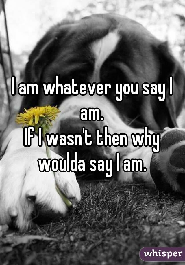 I am whatever you say I am.  If I wasn't then why woulda say I am.