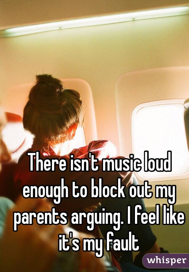 There isn't music loud enough to block out my parents arguing. I feel like it's my fault