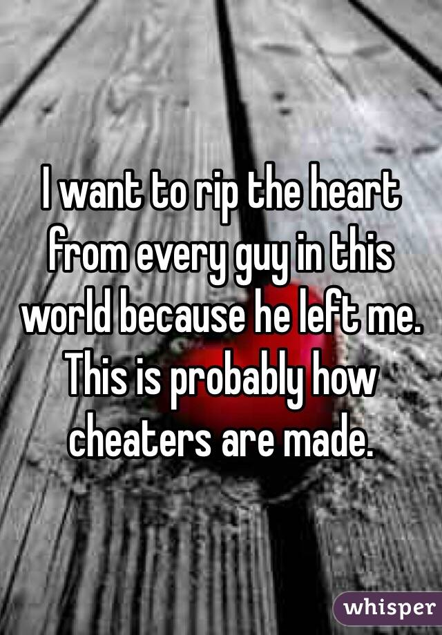 I want to rip the heart from every guy in this world because he left me. This is probably how cheaters are made.