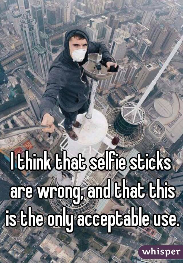 I think that selfie sticks are wrong, and that this is the only acceptable use.