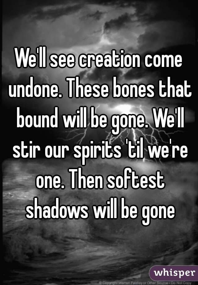 We'll see creation come undone. These bones that bound will be gone. We'll stir our spirits 'til we're one. Then softest shadows will be gone