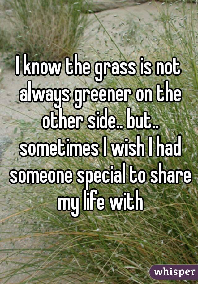 I know the grass is not always greener on the other side.. but.. sometimes I wish I had someone special to share my life with