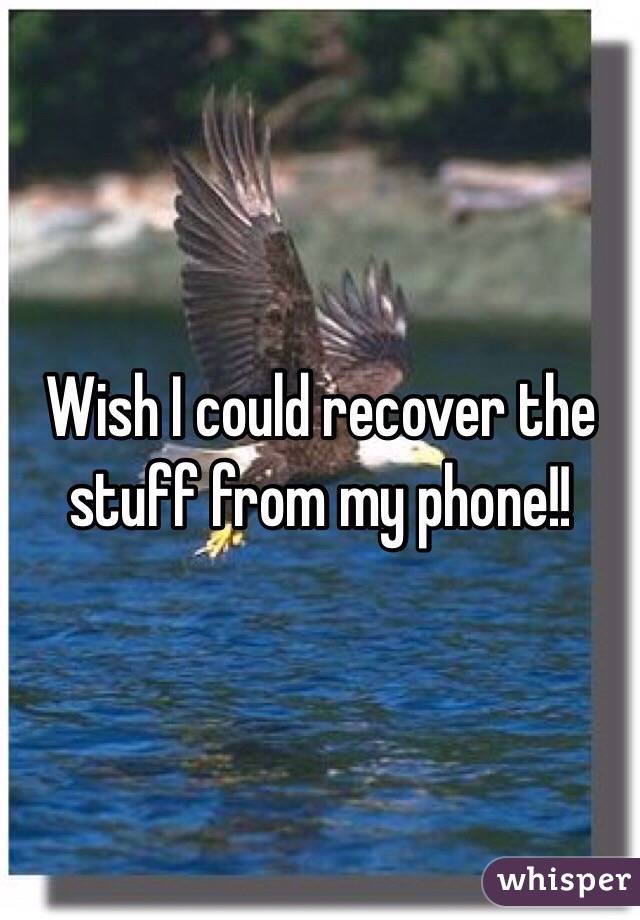 Wish I could recover the stuff from my phone!!