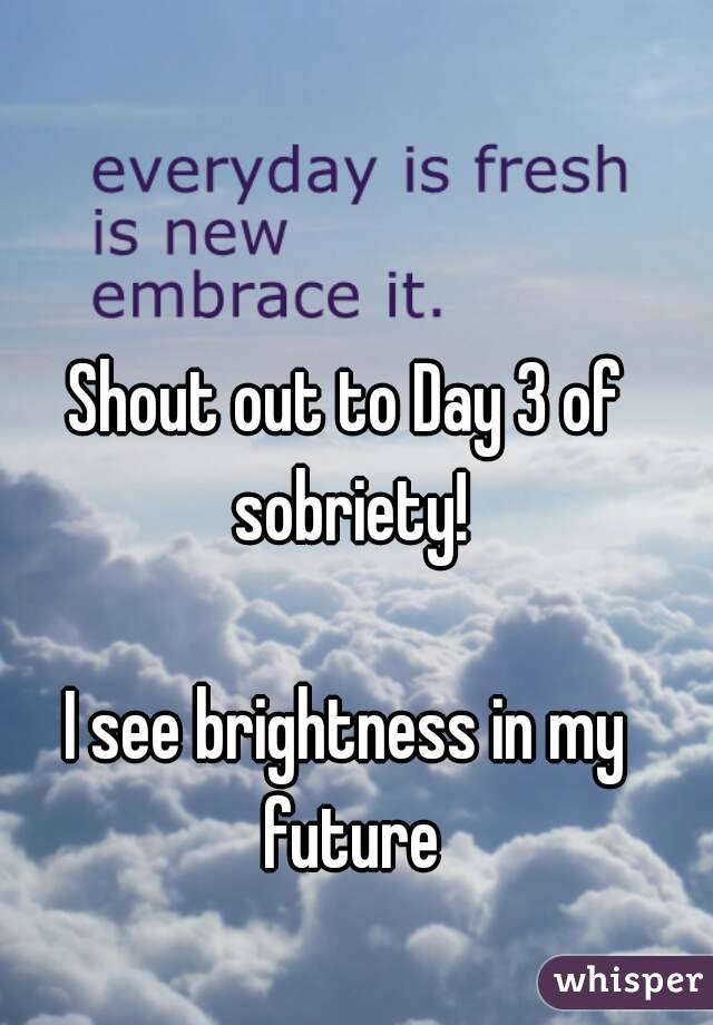 Shout out to Day 3 of sobriety!  I see brightness in my future