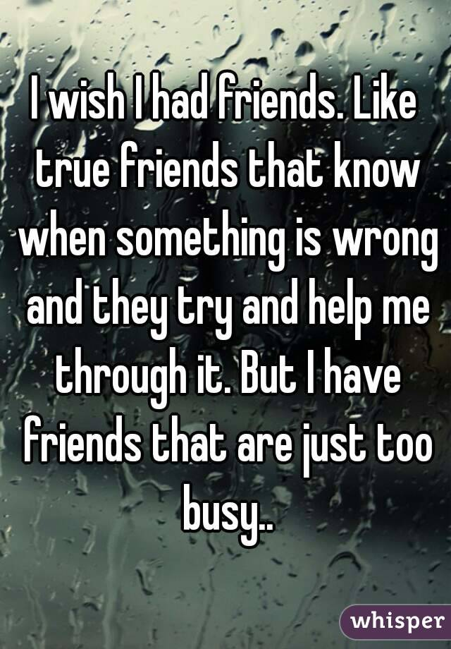 I wish I had friends. Like true friends that know when something is wrong and they try and help me through it. But I have friends that are just too busy..