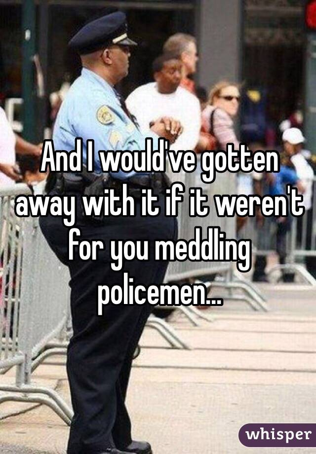 And I would've gotten away with it if it weren't for you meddling policemen...