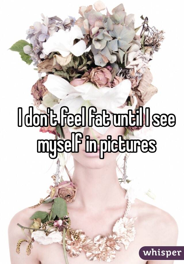 I don't feel fat until I see myself in pictures