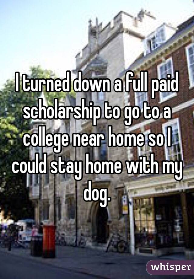 I turned down a full paid scholarship to go to a college near home so I could stay home with my dog.
