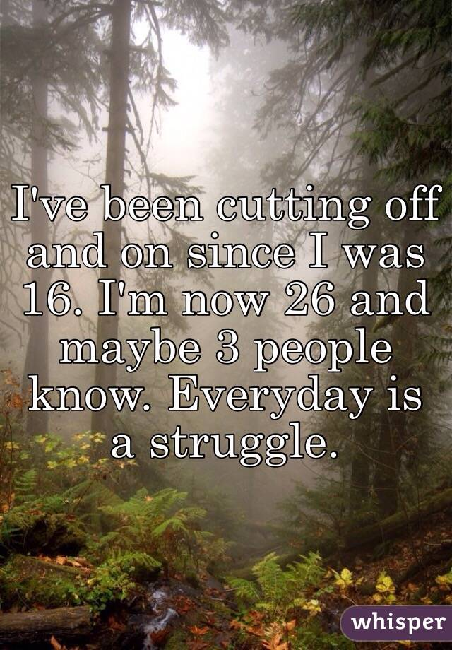I've been cutting off and on since I was 16. I'm now 26 and maybe 3 people know. Everyday is a struggle.