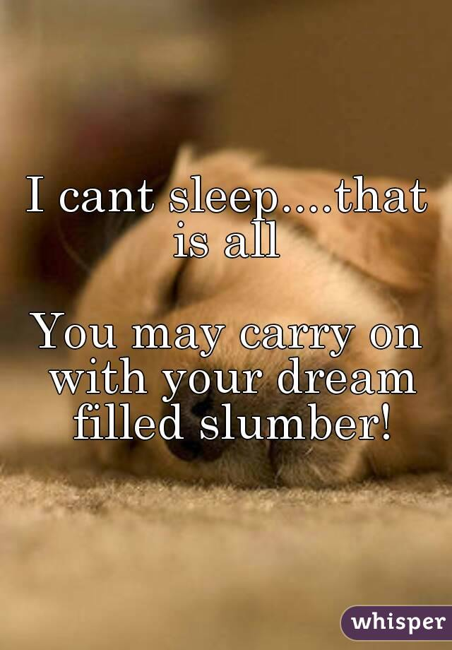I cant sleep....that is all   You may carry on with your dream filled slumber!