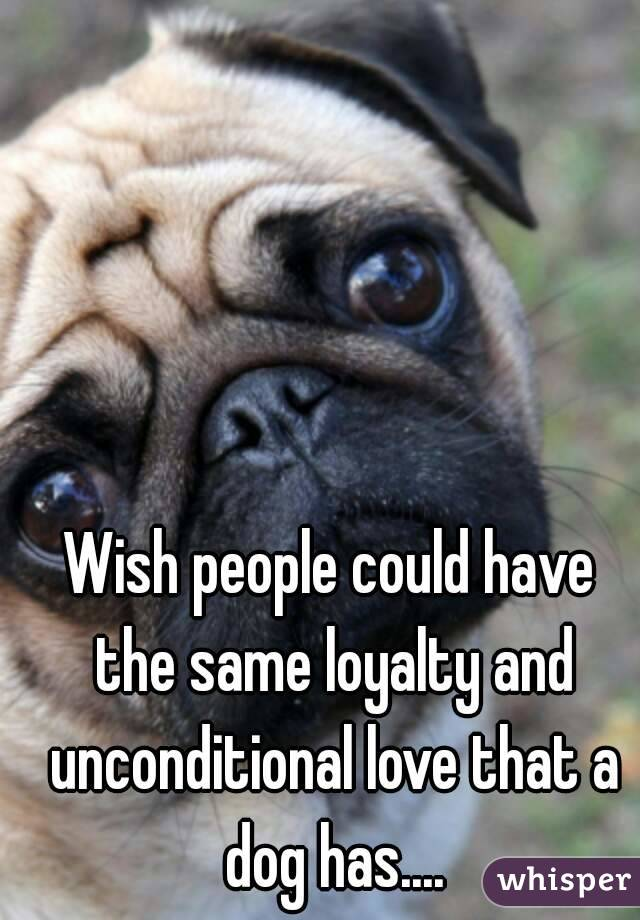 Wish people could have the same loyalty and unconditional love that a dog has....