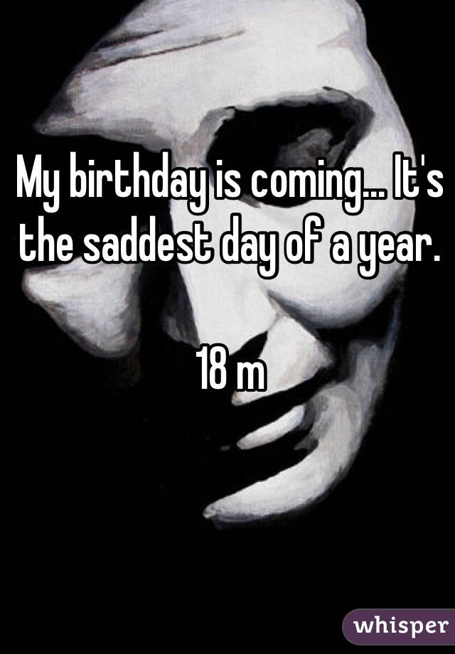My birthday is coming... It's the saddest day of a year.   18 m