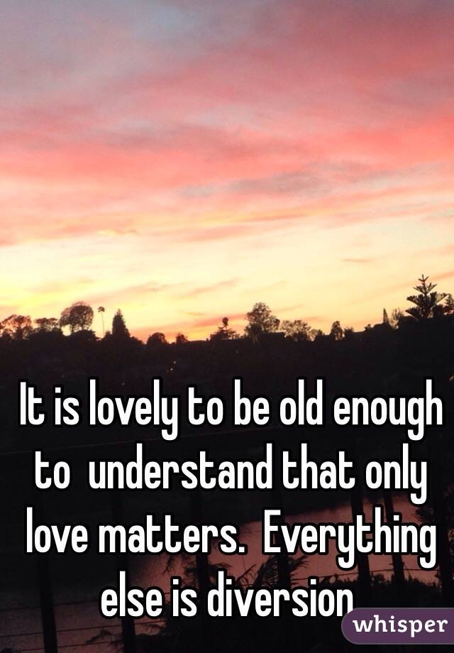 It is lovely to be old enough to  understand that only love matters.  Everything else is diversion.