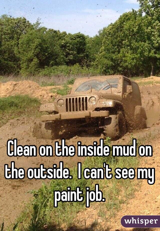 Clean on the inside mud on the outside.  I can't see my paint job.