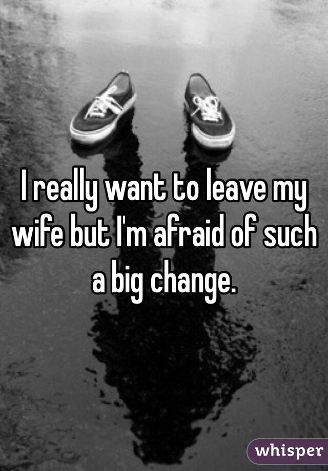 I really want to leave my wife but I'm afraid of such a big change.