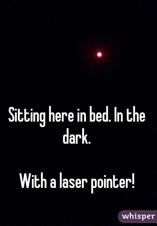 Sitting here in bed. In the dark.   With a laser pointer!
