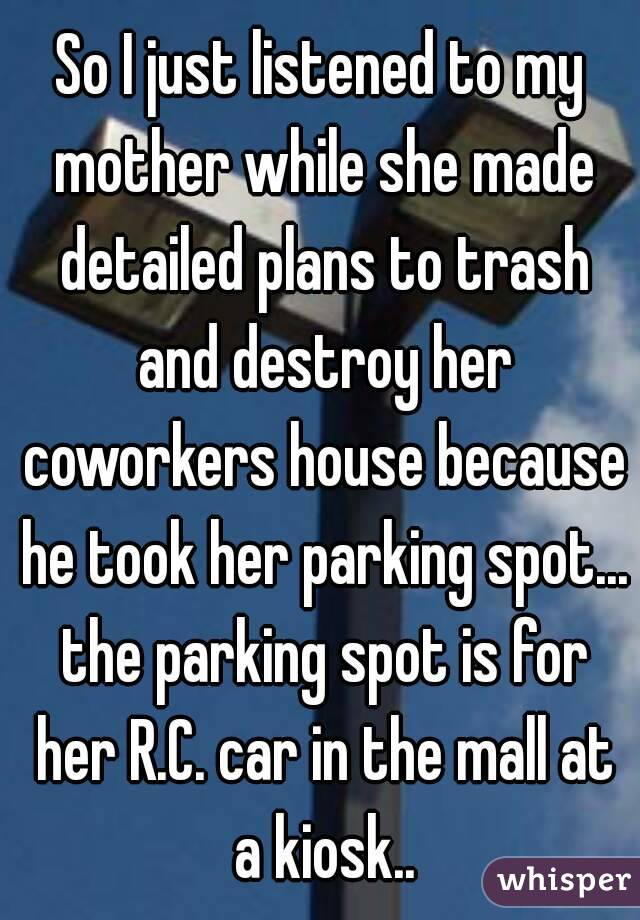 So I just listened to my mother while she made detailed plans to trash and destroy her coworkers house because he took her parking spot... the parking spot is for her R.C. car in the mall at a kiosk..