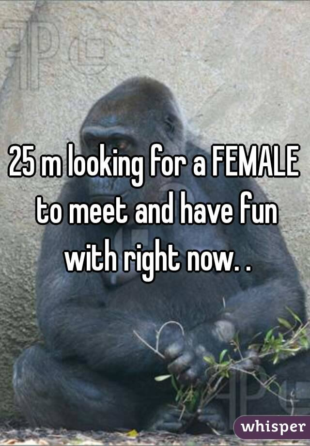 25 m looking for a FEMALE to meet and have fun with right now. .