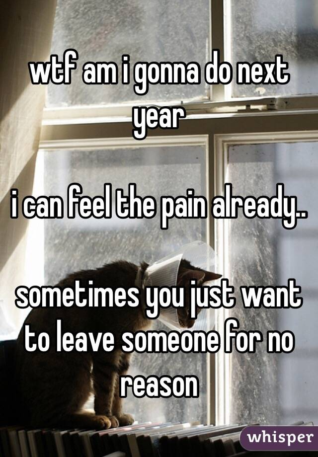 wtf am i gonna do next year   i can feel the pain already..  sometimes you just want to leave someone for no reason