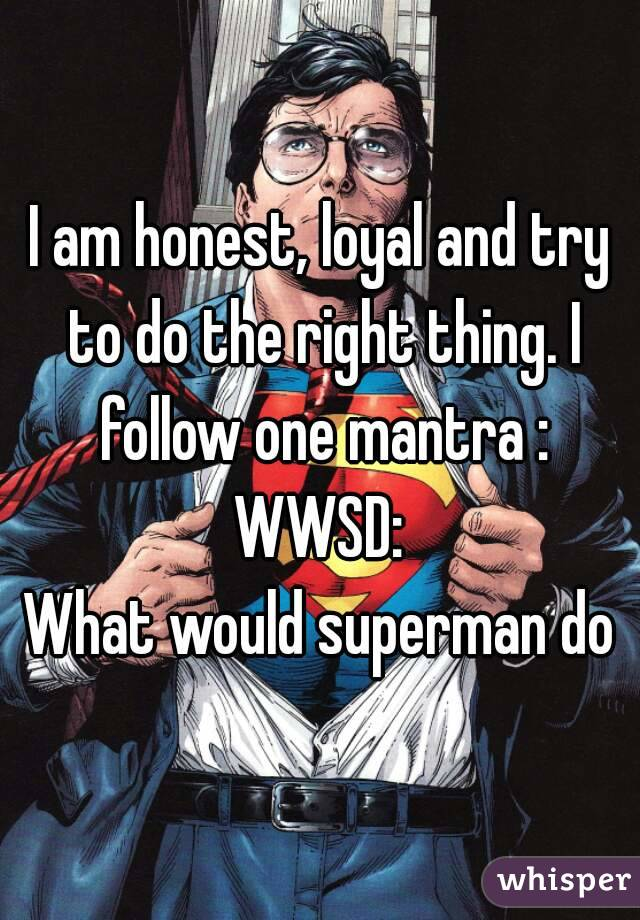 I am honest, loyal and try to do the right thing. I follow one mantra : WWSD: What would superman do