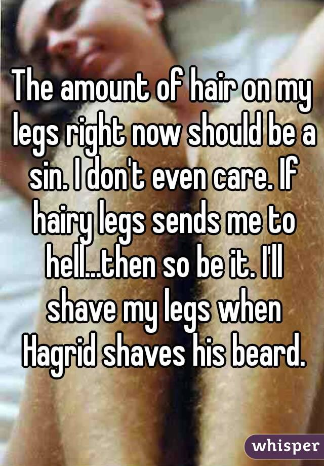 The amount of hair on my legs right now should be a sin. I don't even care. If hairy legs sends me to hell...then so be it. I'll shave my legs when Hagrid shaves his beard.