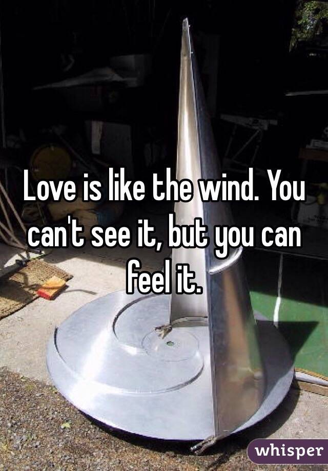 Love is like the wind. You can't see it, but you can feel it.